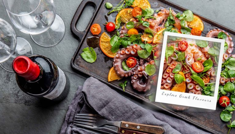 Whole octopus salad with orange, tomatoes and cress salad served on board with wine.